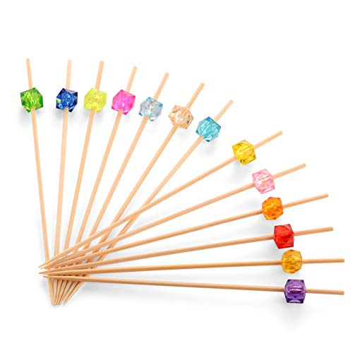 Bamboo Cocktail Toothpicks, Decorative Fruit Skewers of Wedding and Baby Shower. Cute Wooden Party Picks for Appetizer, Drink, Sandwich, and Cupcake. (Assorted Color Crystals, 4.7 Inch -100 Counts)
