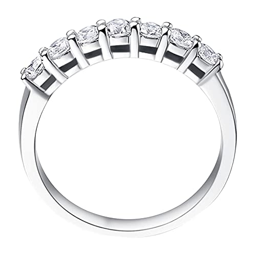certainPL Women Trendy Plated Zircon Diamond Engagement Ring Promise Dainty Statement Proposal Anniversary Ring Gift (Silver, 6)