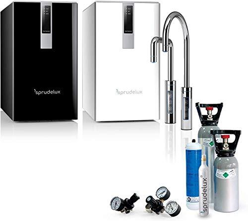 SPRUDELUX® Untertisch-Tafelwasseranlage Diamond HOT Black & White Edition + DREI Wege Wasserhahn U-Auslauf. Profi-Wassersprudler für den Privathaushalt. Mineralwasser (Weiß, Ohne CO2 Flasche)