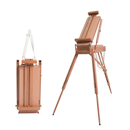 Yonntech Staffelei holz für künstler Kofferstaffelei Holz-Ständer für Leinwände, Holz Staffelei mit verstellbarer Halterung, Stahlbeschlägen, zum Malen & Präsentieren von Kunstwerken