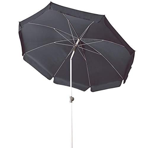 Doppler GS Active ca. 200/8tlg. - Sonnenschirm für Balkon oder Garten - Regenabweisend - Knickbar - ca. 200 cm - Anthrazit