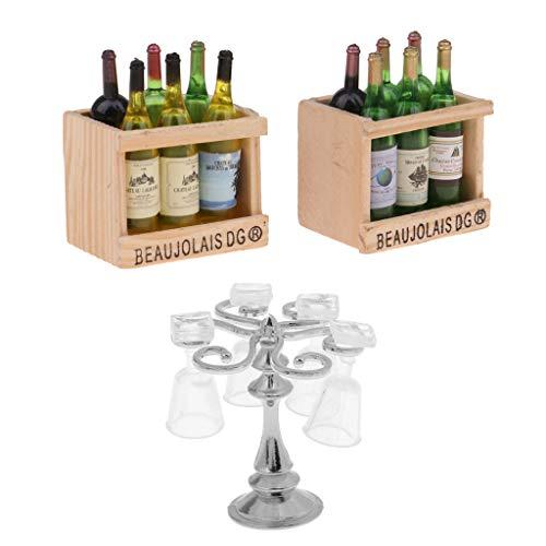 Toygogo Muebles de casa de muñecas de 1/12 – Botellas de vino de cerveza y portavasos con juego de copas