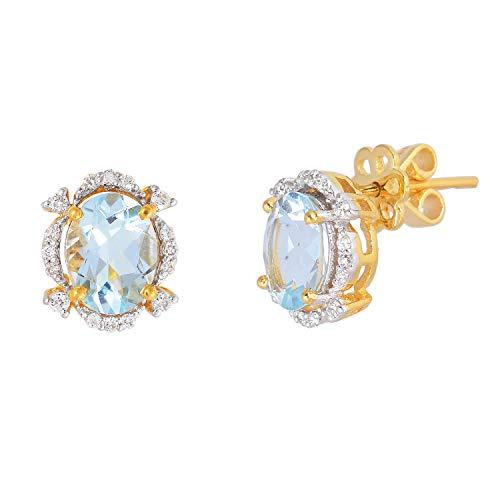 Pendientes de oro amarillo de 14 quilates con aguamarina azul marino de 2,10 quilates con diamantes naturales de 0,22 quilates (color H I, claridad Vs2 Si1) joyería fina para regalos de mujer