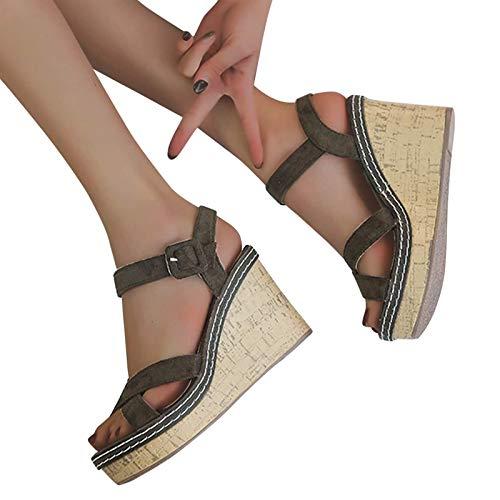 MIAOXIAO Cuñas Sandalias con Correa Zapatos de Tacón Plataforma Mujer Sandalias Casual Verano Moda Punta Abierta Wedge High Heels,4,EU37