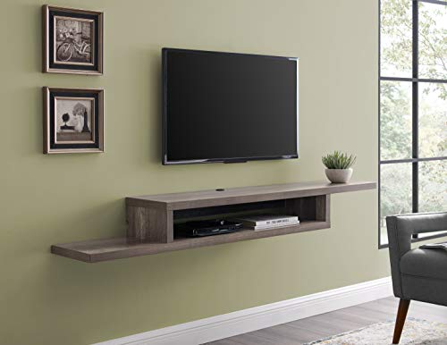 "Martin Furniture Asymmetrical Floating Wall Mounted TV Console, 72inch, Light Brown, 72"","