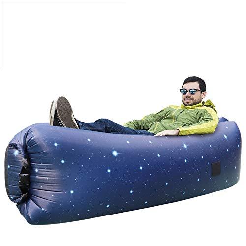 ORSEN Luft Sofa Couch, Wasserdichtes aufblasbares Sofa, Air Lounger mit Tragebeutel und integriertem Kissen für Indoor oder Outdoor (Stern Himmel)