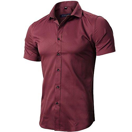 INFLATION Herren Hemd aus Bambusfaser umweltfreudlich Elastisch Slim Fit für Freizeit Business Hochzeit Reine Farbe Hemd Kurzarm Herren-Hemd Weinrot DE 2XL (Etikette 44)