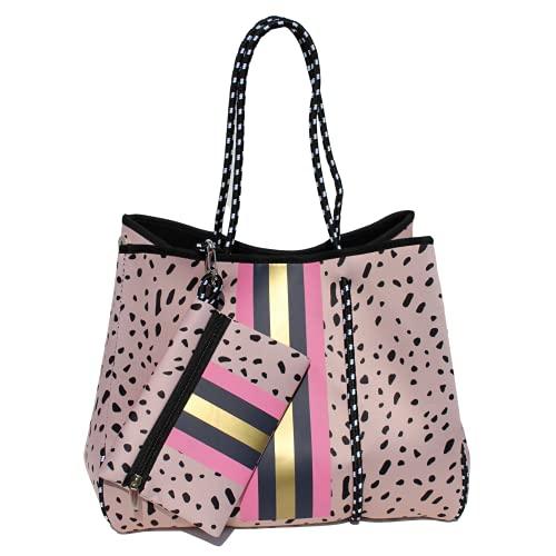 Bolso de neopreno de leopardo   Bolsa de playa, bolsa de gimnasio   Bolsa de cremallera a juego incluida   Diseño de lunares negros