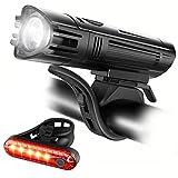 Ascher USB Rechargeable Bike Light Set, Super Bright Headlight Front Lights and Rear