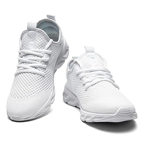 Homme Chaussures de Running Sport Tennis Gym Course Marche Baskets Athlétiques Casual Légères Confortables Sneakers Outdoor Vélo Route Trail Jogging Basquettes Blanche 40