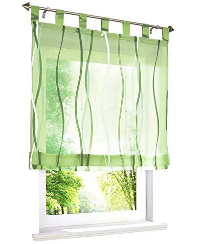 BAILEY JO Raffrollo mit farbigen Wellen Druck Rollos Schlaufen Voile Vorhang (BxH 100x140cm, Grün)