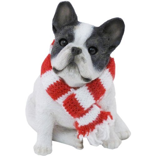 Sandicast Brindle French Bulldog with Red and White Scarf Christmas Ornament by Sandicast
