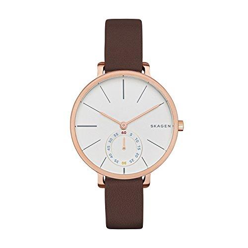 Skagen Damen Analog Quarz Uhr mit Leder Armband SKW2356