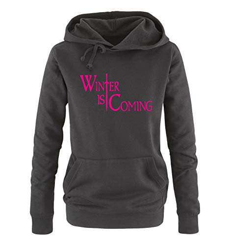 Just Style It - Winter is Coming - Style1 - Game of Thrones - Damen Hoodie - Schwarz/Pink Gr. XXL