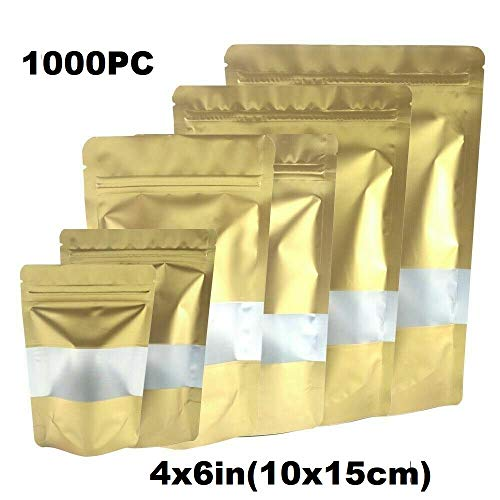 Review Durable and Wonderful 1000PC - 4x6in(10x15cm) Foil Mylar Matte Stand Up Zip Lock Bag w/Rectan...