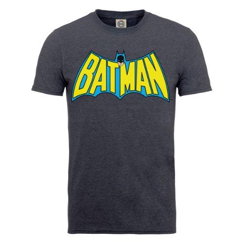DC Comics DC0001141 Official Batman Retro Logo Camiseta, Dark Heather, Medium (Talla Fabricante: Medium) para Hombre