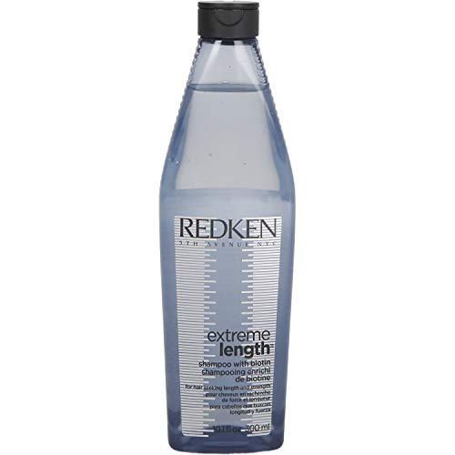 Redken Extreme Length Shampoo, Pflegeshampoo für länger werdendes Haar, gegen Spliss & Haarbruch, mit Biotin & Rizinusöl, 300 ml