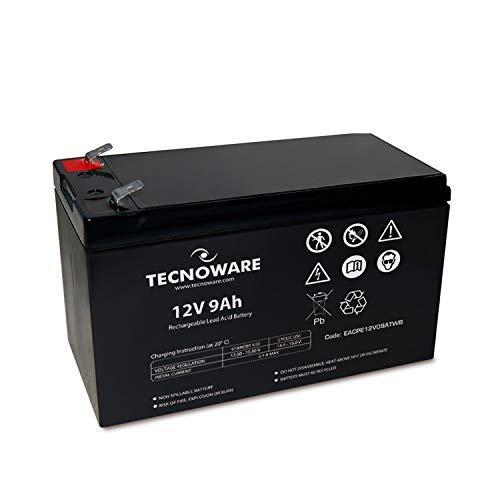 Tecnoware Batteria Ermetica al Piombo 12 V - per UPS, Sistemi di Videosorveglianza e Allarme - Attacco Faston 6.3 mm - Dimensioni 15,1 x 9,4 x 6,5 cm - Capacità 9 Ah