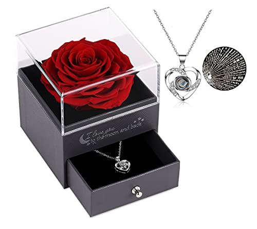 Geschenke für sie konservierte echte Rose Schublade Ewige handgemachte konservierte Rose mit Halskette 100 Sprachen Geschenk, verzauberte echte Rose Blume zum Valentinstag Muttertag (Rot)