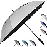 ZEKAR 62' & 68' Windproof Large Vented Canopy Golf Umbrella, UPF 50+ Patio Umbrella | Sun UV Protection | Keep You Cool (Silver, 62')
