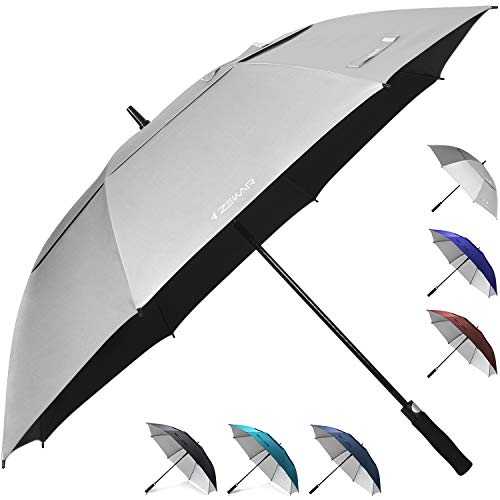 "ZEKAR 62"" & 68"" Windproof Large Vented Canopy Golf Umbrella, UPF 50+ Patio Umbrella | Sun UV Protection | Keep You Cool (Silver, 62"")"