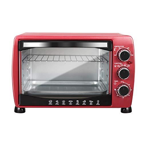 WOLTU BF09rt Mini Backofen 20 Liter Pizzaofen Glastür mit Backblech mit Timer 100-250°C 1400 Watt Rot
