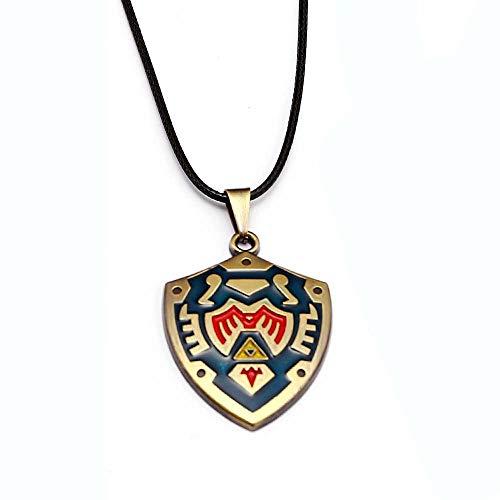 EU_LevinArt Legend of Zelda Necklace Breath of The Wild Metal Pendant Men Women Necklaces Zelda Helia's Shield Keyring