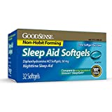 GoodSense Nighttime Sleep-Aid Softgels, Diphenhydramine HCl 50 mg, Relieves Occasional Sleeplessness, 32 Count