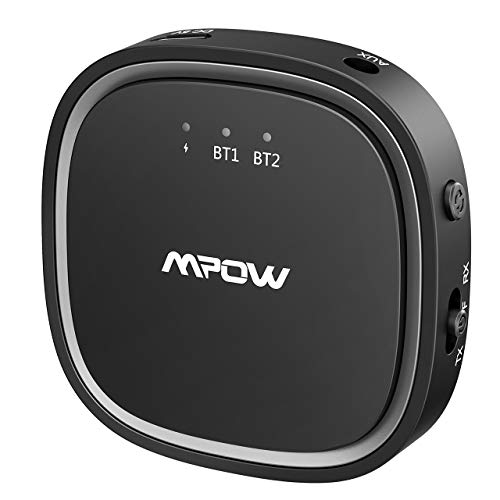 top rated Mpow Bluetooth 5.0 Receiver / Transmitter, 2 in 1 Bluetooth Audio Adapter, 3.5 mm AUX / Low… 2020