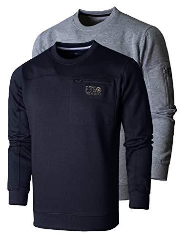 FULL TIME SPORTS® Tech Herren Rundhals Langarm Casual Top Fleece Sweatshirt 2 Pack (GRAUE Melange & Marine, 2XL)