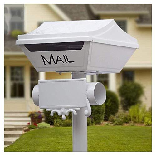 ZWH-Briefkasten Mailbox Zeitschrift Zeitung Mailboxes Garten Alle Aluminium Material Rostfrei Briefkasten mit Verschluss Villa Dekoration Mail-Zylinder (weiß) Tür Briefkästen
