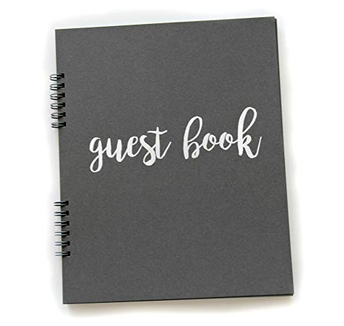Photo Guest Book, Flat-Lay Spriral 65 Sheets (130pgs) 9.25'x7.5' Anniversary Guest Book Instax Guest Book Photo Booth Guest Book Birthday Guestbook (Grey)