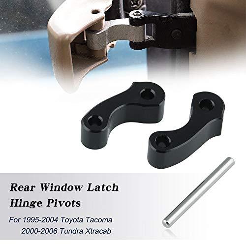 Ruien Aluminum Rear Window Latch Hinge Pivots for 95-04 Tacoma 00-06 Tundra Xtracab 2 Pcs Black