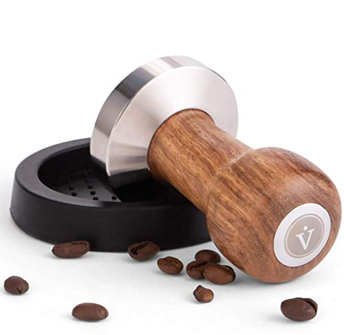 VIENESSO Tamper Set 51 mm - Coffee Stamp made of Stainless Steel and real Wood Handle incl. Mat+Barista Ebook, Flat Tamper Base