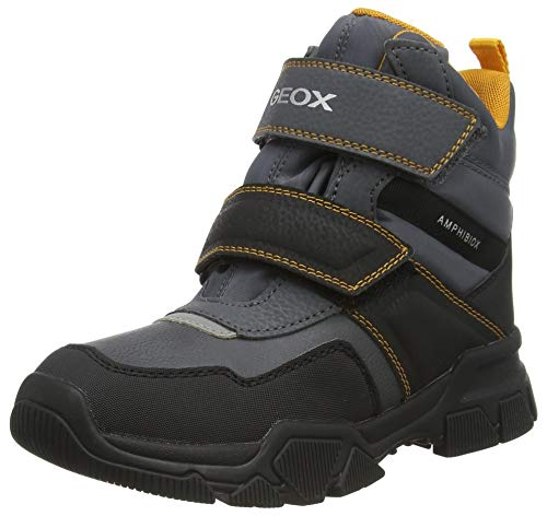 Geox J Nevegal Boy Abx C, Bota de Nieve Niños, Gris (Dk Grey/Yellow), 29 EU