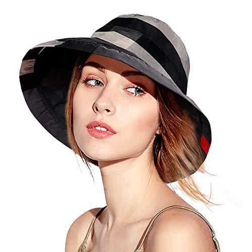 Casibecks Sombreros para el Sol Mujer Plegable Sombrero Ancho Verano p