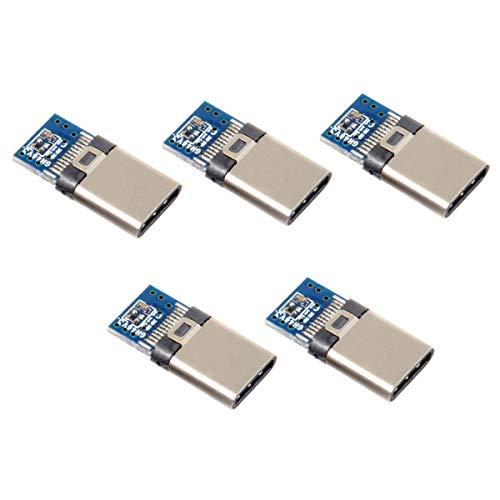 5 Stück DIY 24-Pin USB Typ C USB-C Stecker OTG Host Type 5.1k Widerstand mit schwarzem Gehäuse Abdeckung