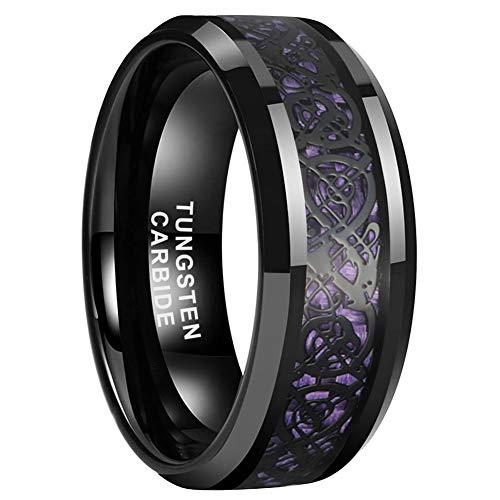iTungsten 8mm Black Tungsten Carbide Rings for Men Women Wedding Bands Celtic Dragon Purple Carbon Fiber Inlay Beveled Edges Comfort Fit