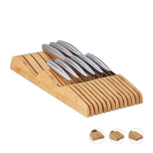Relaxdays Messerblock Schublade, liegend, Bambus, für 13 Messer, HBT: 5x17x40 cm, Schubladeneinsatz, Natur