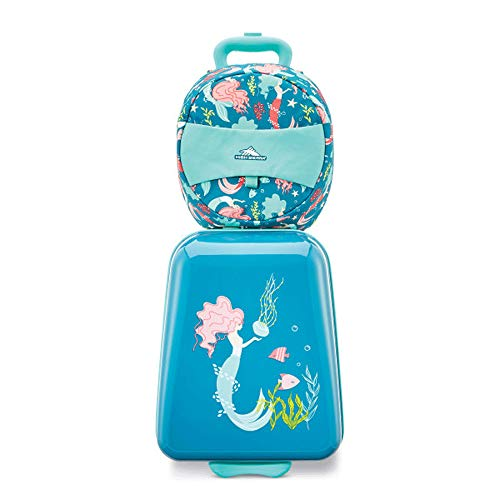 High Sierra Teddy Buddy 2 Piece Luggage Set with Wheels on Hard Rolling Suitcase & Carry Backpack Bag for Boy or Girl Toddler Kids Travel, Teal