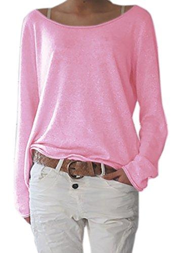 Damen Rundhalsausschnitt Langarm Lose Bluse Strickpulli Hemd Shirt Oversize Sweatshirt in vielen Trend Farben Tops S/M L/XL (632) (S/M, Hellrosa)