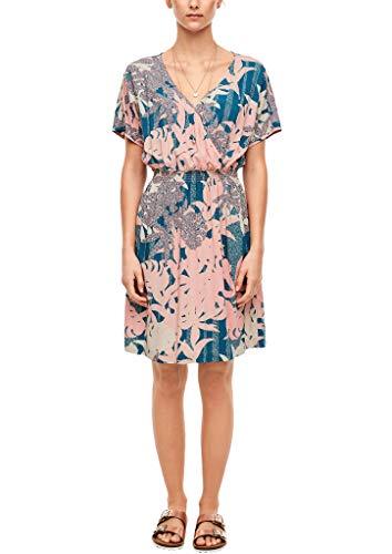 Q/S designed by - s.Oliver Damen Kleid mit Cache-Coeur-Ausschnitt Coral Rose AOP 44