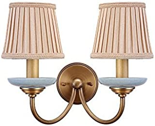 GWFVA Wall Lamp Creative All Bronze Bedroom Bedside Lamp Living Room, Single and Double Head E14 Pure Copper Entrance Corridor Balcony Stairs (Size : 38 * 30CM)