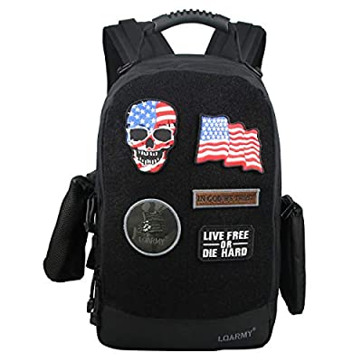 Velcro Backpack Laptop Backpack Military Tactical Backpack,with Five Velcro Patches,Including 1 US Flags for Outdoor,Hiking,Camping Travel?Black?