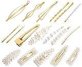 Haarspangen Perlen 18 Stücke Haarschmuck für Hochzeit Party Metal Haarklammern Haarnadeln Hair Clips für Damen Mädchen DIY Haarstyling