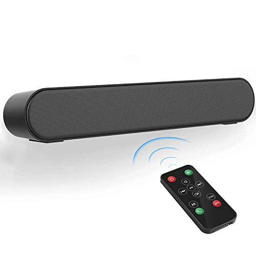 LENRUE Computer Speakers, Bluetooth 5.0 Wireless PC Soundbar with Mic, AUX/RCA, USB, Remote Control, Support for Desktop Computer, Laptop, PC, Smartphone, Projector, Tablet