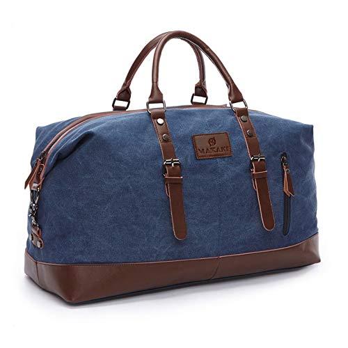 Makani Bolso de lona para hombre y mujer, con mucho espacio y compartimentos, estilo vintage, ideal como regalo