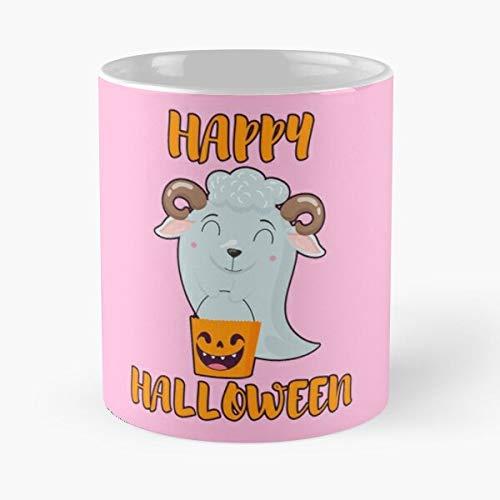 Taza de café de cerámica con diseño de ovejas disfrazadas de calabaza, divertido fantasma, Halloween, comer comida morder John Best de 315 ml