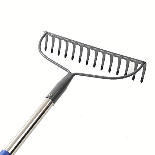 COCOHOME Bow Rake - 14 Tines Heavy Duty Metal Garden Leaf Rake with Stainless Steel Pole Handle, Wide Tines Level Head Adjustable Rake for Yard (Length: 60