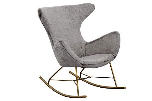 SalesFever Schaukelstuhl Cottage | Bezug Teddyfell in Grau | Kufen Gestell Edelstahl Gold-Farben | Rocking-Chair im skandinavischen Design